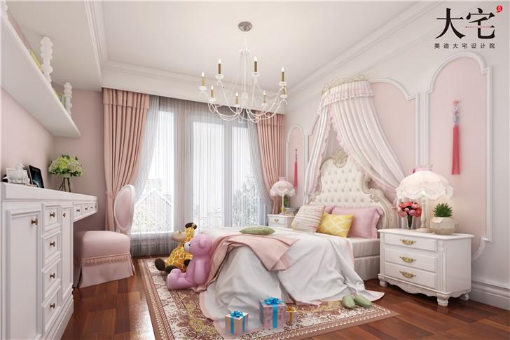龙湖湘风原著300平美式风装修案例图—女儿房