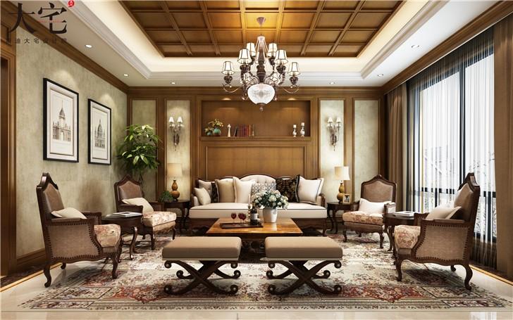 龙湖湘风原著300平美式风装修案例图—客厅