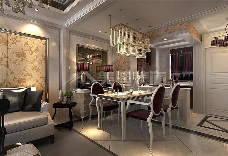 江山帝景120平新古典风装修案例图—餐厅