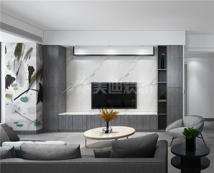 八方小区124平后现代风装修案例图—客厅