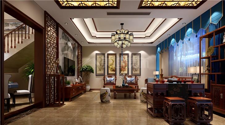 自建别墅280平新中式风装修案例图—客厅