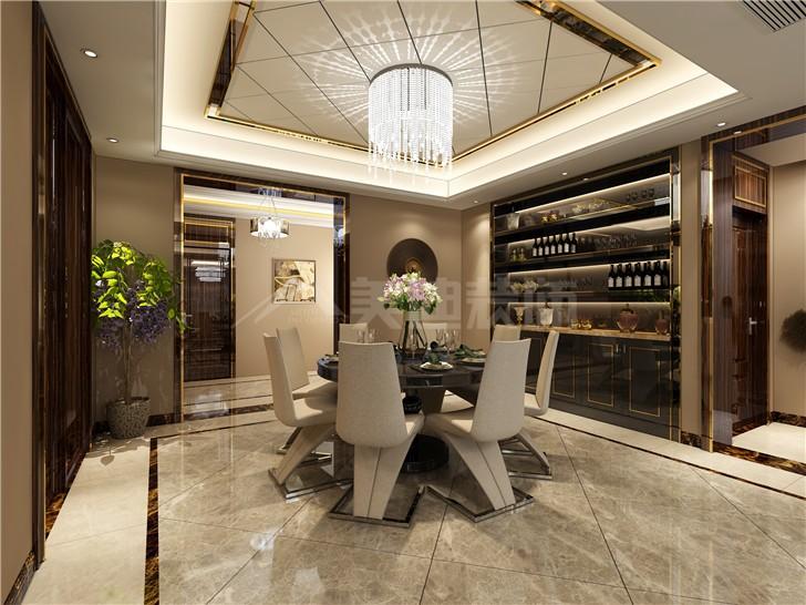 牡丹舸130平港式风装修案例图—餐厅