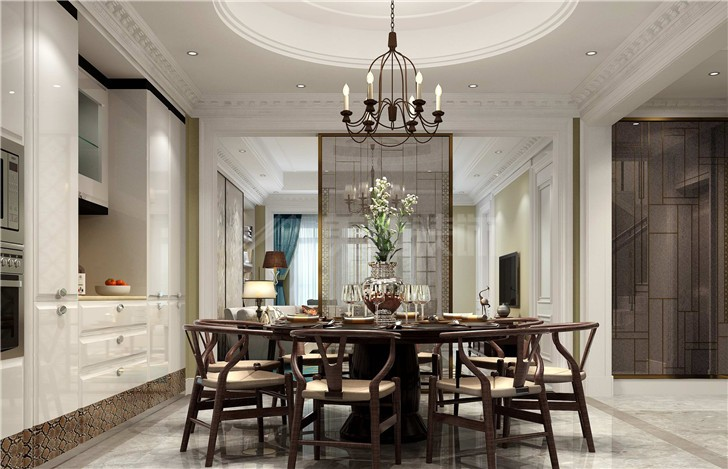 长房梅溪香山240平欧式风装修案例图—餐厅