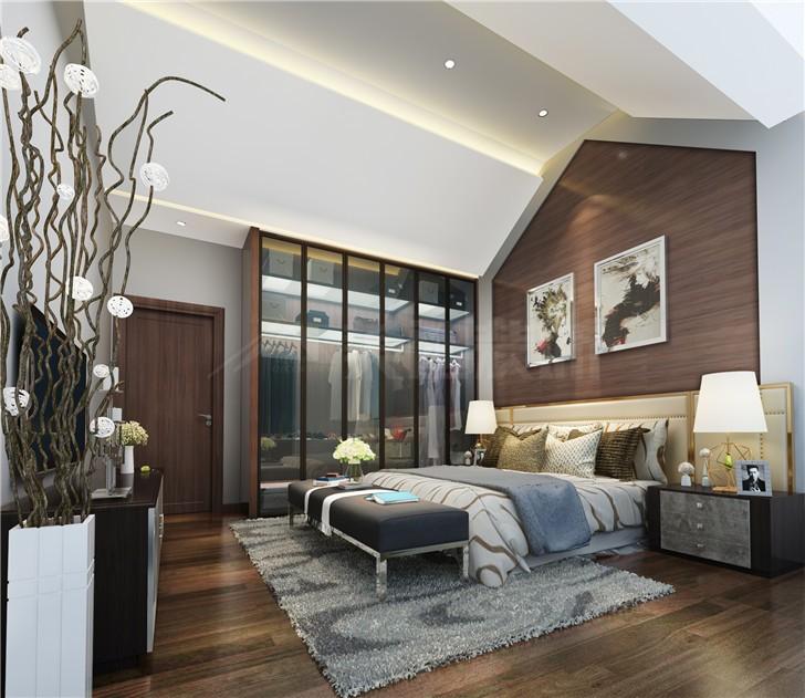 碧桂园201平现代风装修案例图—主卧室