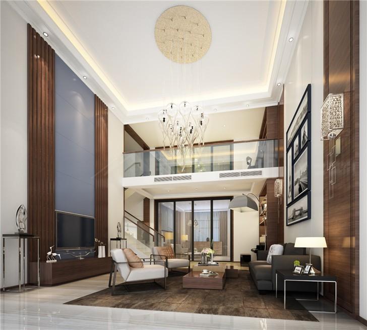 碧桂园201平现代风装修案例图—客厅