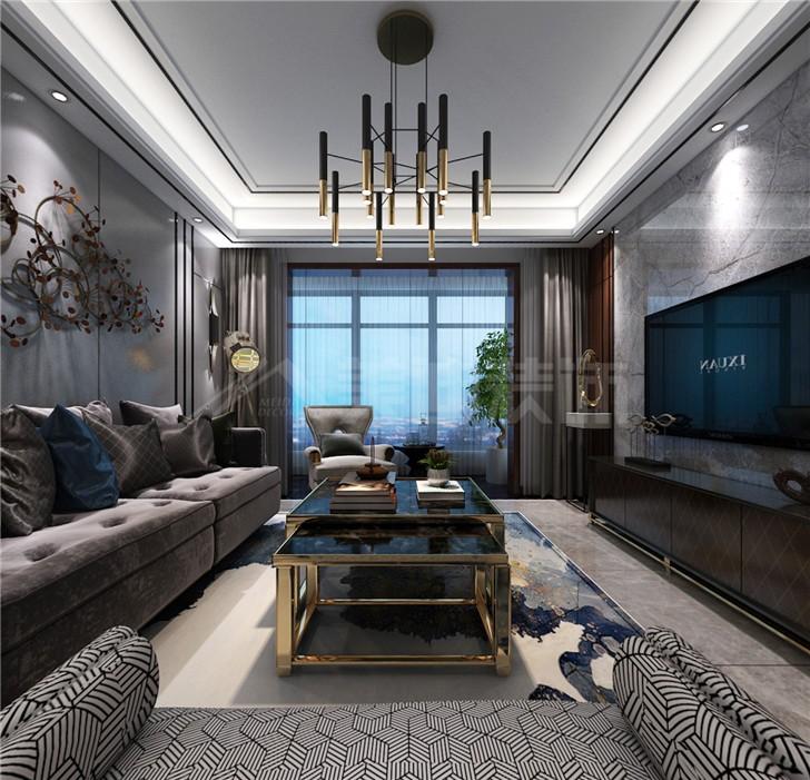 北辰三角洲135平后现代风装修案例图—客厅