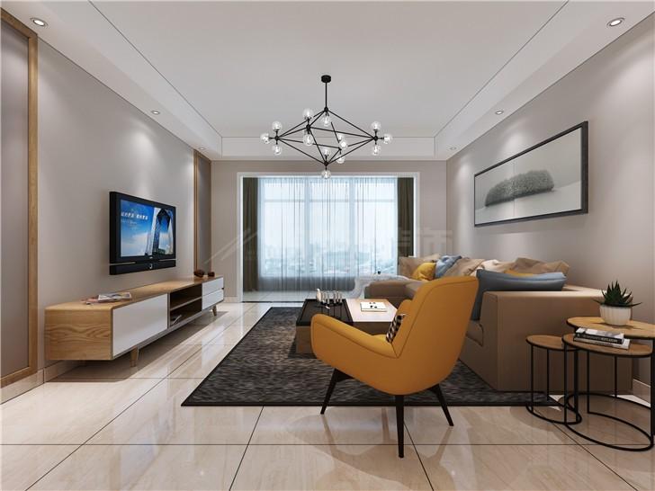 金湘苑145平北欧风装修案例图—客厅