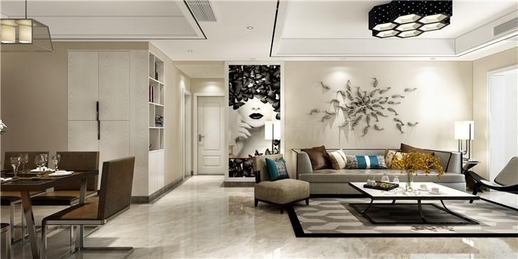 科大佳园126平现代风装修案例图—客厅