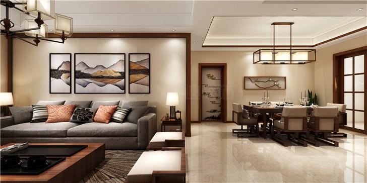 新华都万家城130新中式装修案例图—客厅