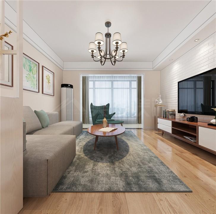 五矿沁园金城109平现代风装修案例图—客厅