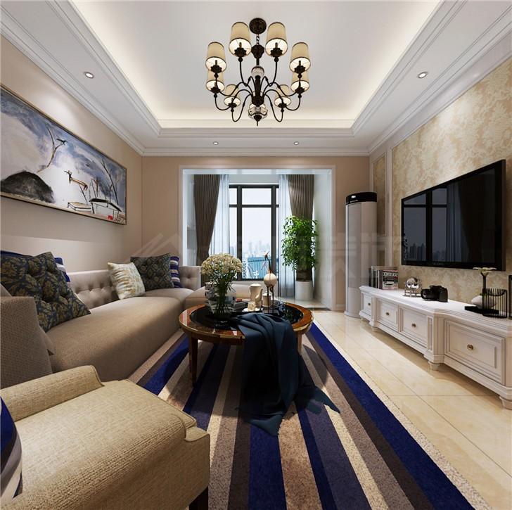 北辰三角洲123平简欧风装修案例图—客厅
