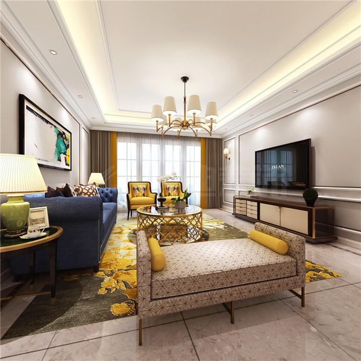 八方小区124平简欧风装修案例图—客厅
