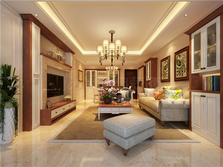怡海星城151美式平北欧风装修案例图—客厅