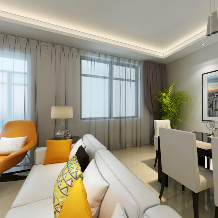 星月绿洲102平现代风装修案例图—客厅