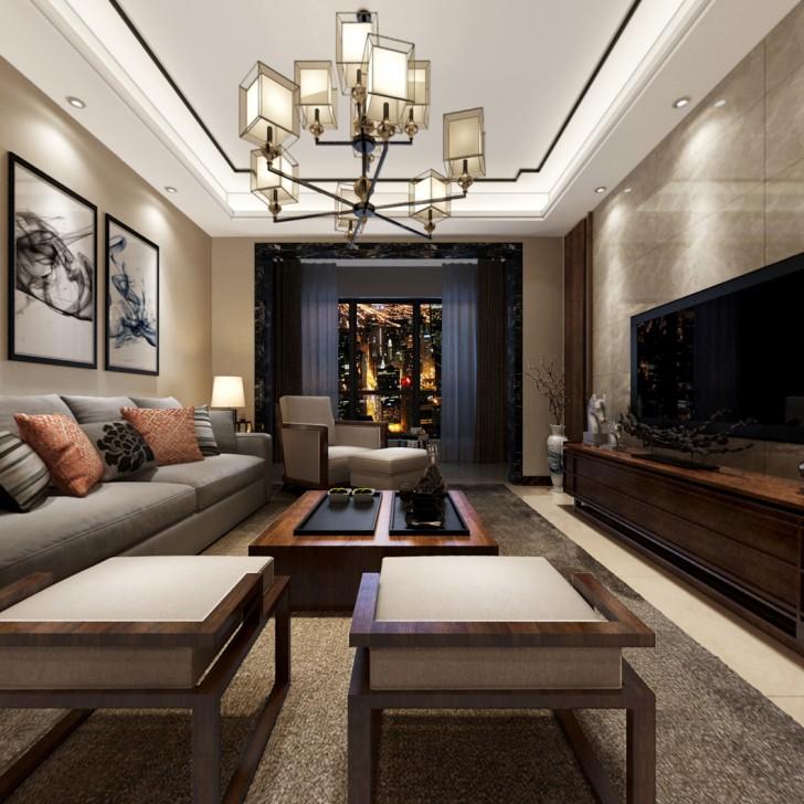 雅居乐花园127平新中式风装修案例图—客厅