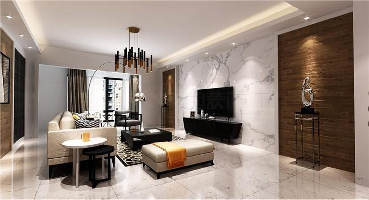 北辰定江洋160平现代风装修案例图—客厅