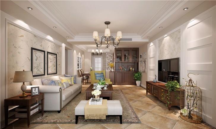 龙湖湘风原著120平美式风装修案例图—客厅