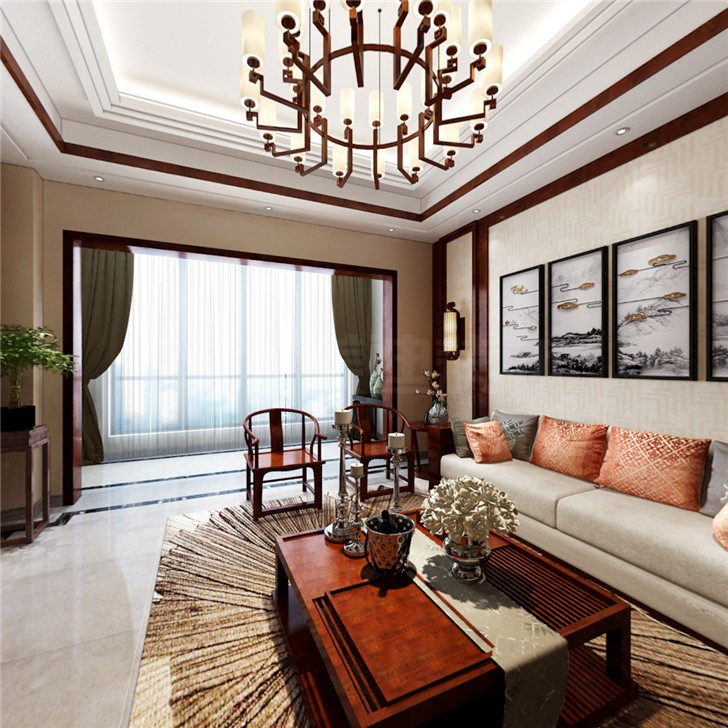 金科东方大院255平新中式风装修案例图—客厅