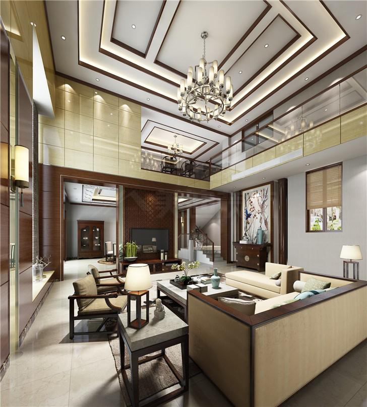 汀湘十里240平新中式风装修案例图—客厅