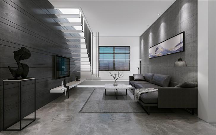 绿地海外滩160平现代简约风装修案例图—客厅