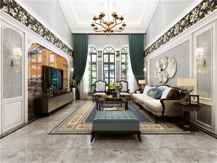 好望谷260平新古典风装修案例图—客厅