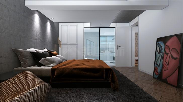 绿地海外滩160平现代简约风装修案例图—卧室