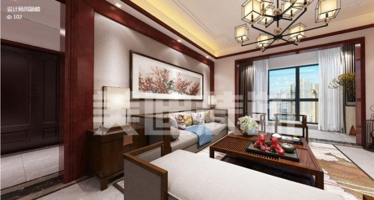 香樟鑫都120平中式装修案例效果图-客厅