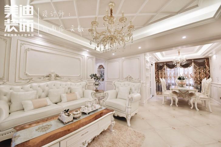 水岸御园125平欧式风格装修案例实拍图-客厅