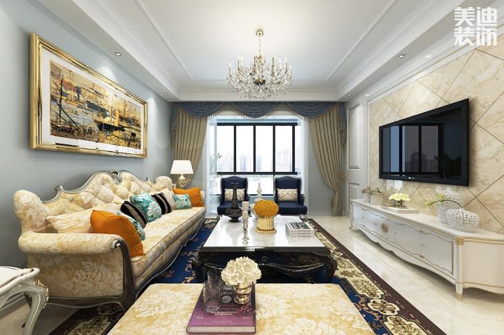湘江世纪城160平米简欧风格装修效果图--客厅图片
