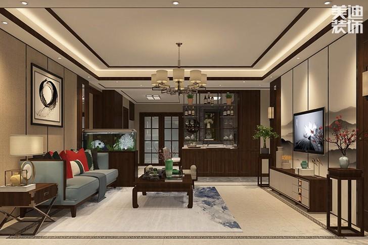 芙蓉盛世138平新中式装修案例效果图--客厅