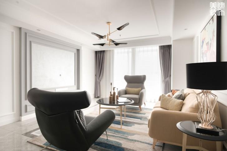 双湾国际120平米新奢古典案例装修实拍图-客厅