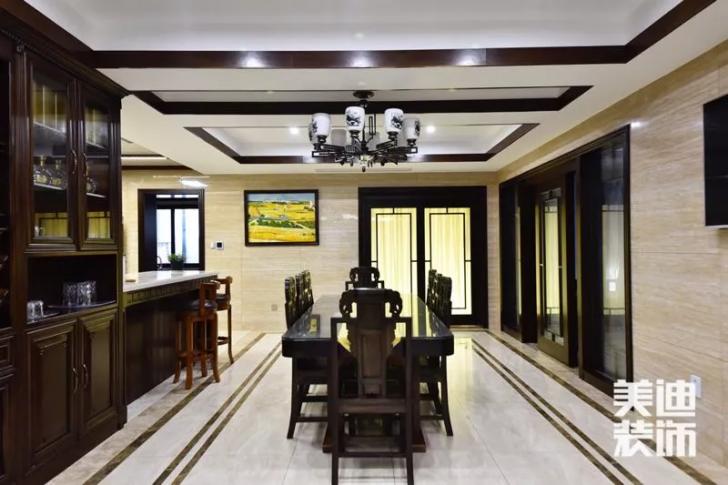 天玺湾300平米新中式风格装修案例实拍图--餐厅
