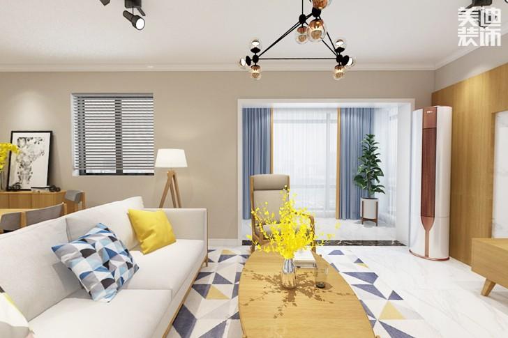 时代倾城115平米北欧风格装修案例效果图--客厅