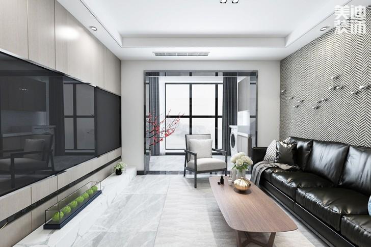 保利西海岸108平米现代风格装修案例效果图--客厅