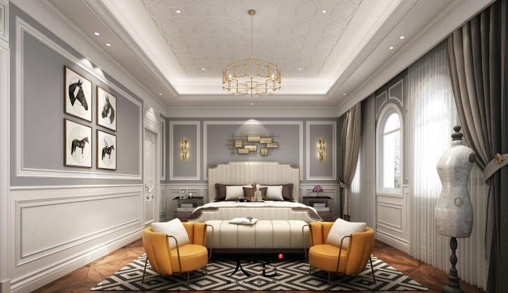 中粮北纬28度1180平米轻奢法式风格装修案例效果图--卧室