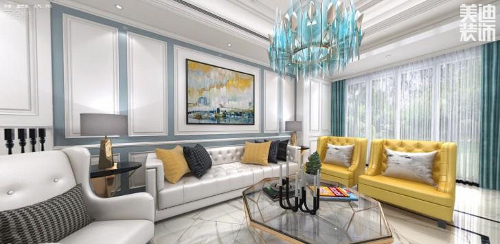 万境蓝山300平米欧式轻奢风格装修效果图--客厅