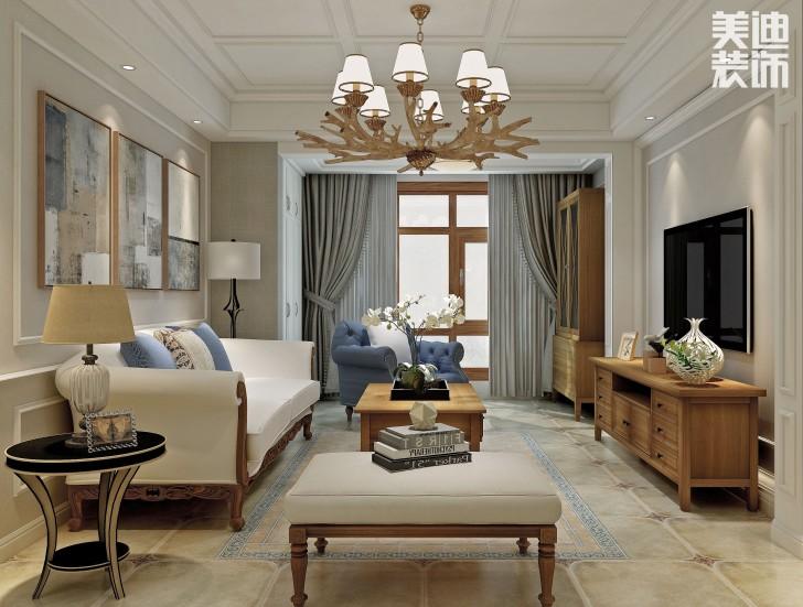 汇金城132平米怀旧美式装修效果图--客厅