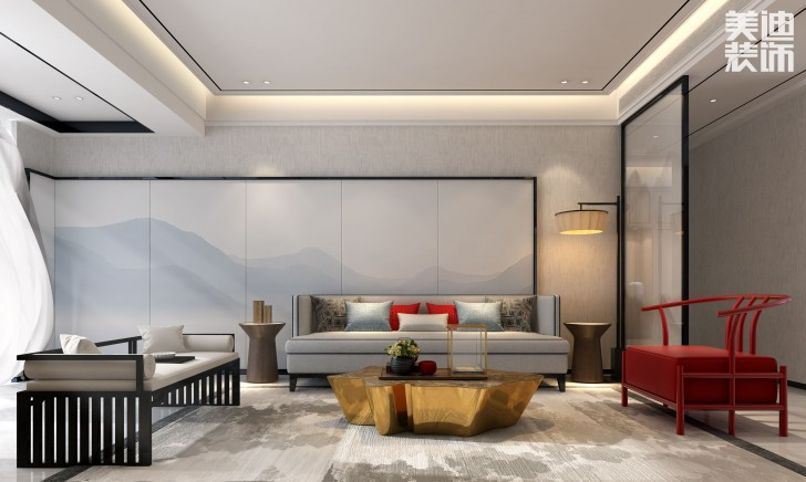 清溪川188平米新中式风格装修案例效果图--客厅