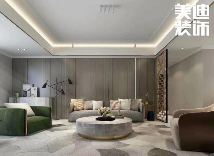 清溪川188平米现代轻奢风格装修案例效果图--客厅
