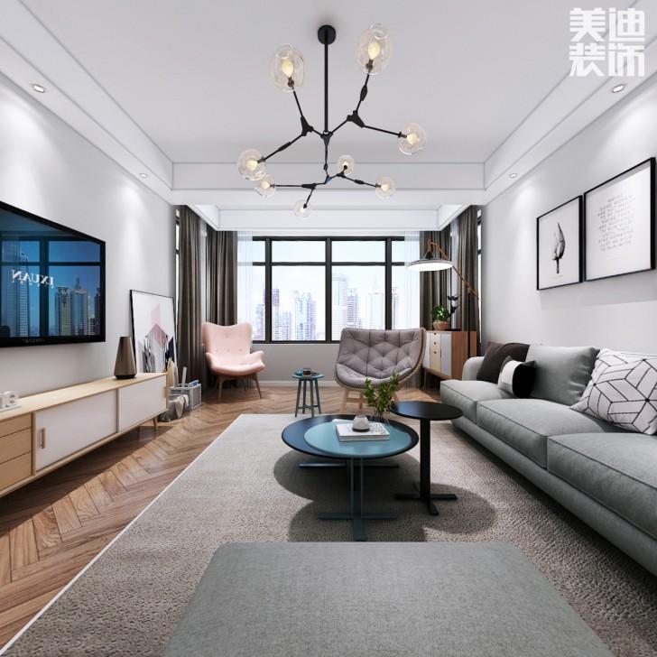 蓝山雍景阁120平米北欧风格装修案例效果图--客厅