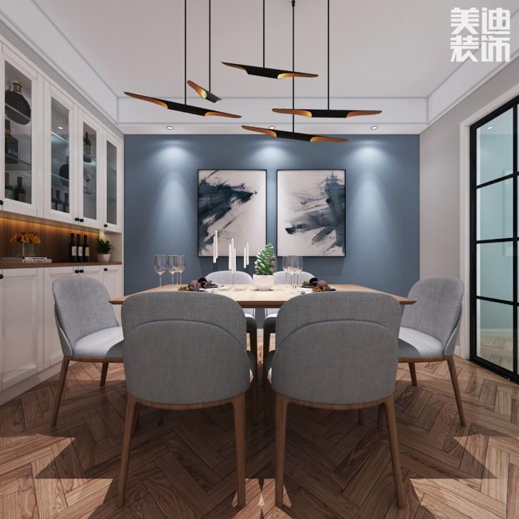蓝山雍景阁120平米北欧风格装修案例效果图--餐厅