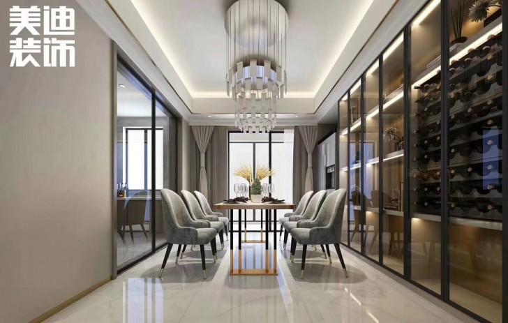 清溪川188平米现代轻奢风格装修案例效果图--餐厅