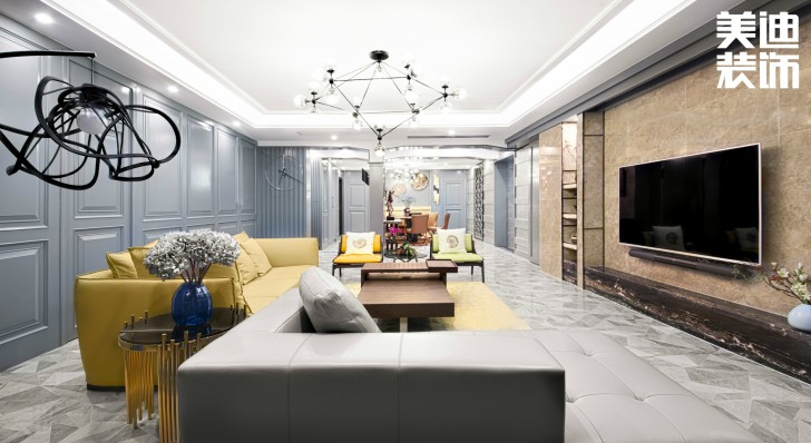 北辰定江洋260㎡现代混搭风格装修案例实拍图-客厅