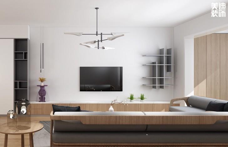 远和城105平方米现代日式风格案例图--客厅